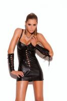 Lace up Leather Mini Dress